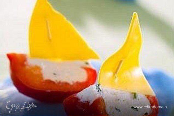 болгарский перец, творог+зелень+сметана, сыр