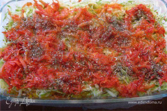 Все овощи натереть на крупной терке, выложить слоями в форму (без масла). Каждый слой слегка присолить и приправить травками на ваше усмотрение. Сверху побрызать слегка маслом и бальзамиком, закрыть крышкой или фольгой и отправить на 50-60 мин в духовку. Минут за 20 до конца открыть, можно посыпать тертым сыром6 лио добавить маленькие кусочки козьего сыра.