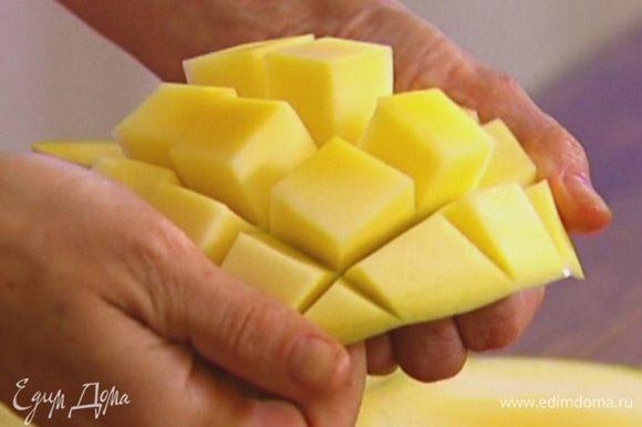 Вырезать мякоть манго, поместить в блендер, влить виноградно-фенхелевый сок и все взбить.
