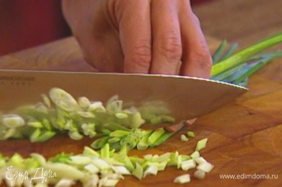 Зеленый лук порезать тонко наискосок.