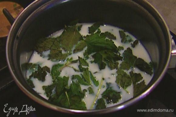 Молоко влить в небольшую кастрюлю, добавить порванную руками мяту, довести до кипения.