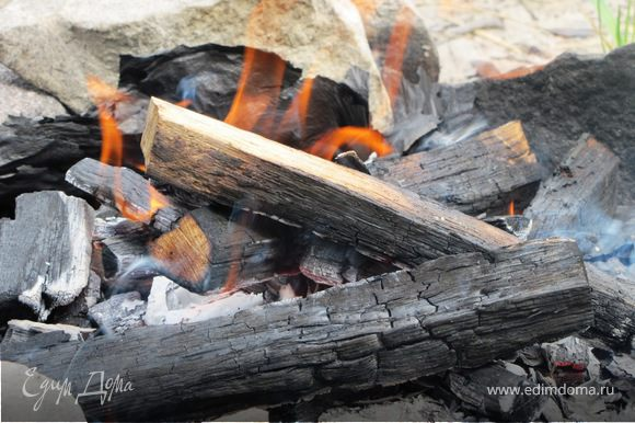 Разводим огонь, ждем углей