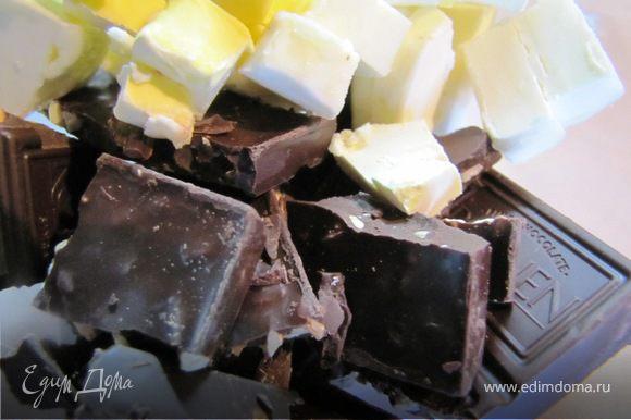 """Растопить шоколад с маслом. Я делалаю это в микроволновке и обратила внимание, что если в шоколад добавить масло/маргарин/растительное масло, то результат """"растопления"""" гораздо лучше."""