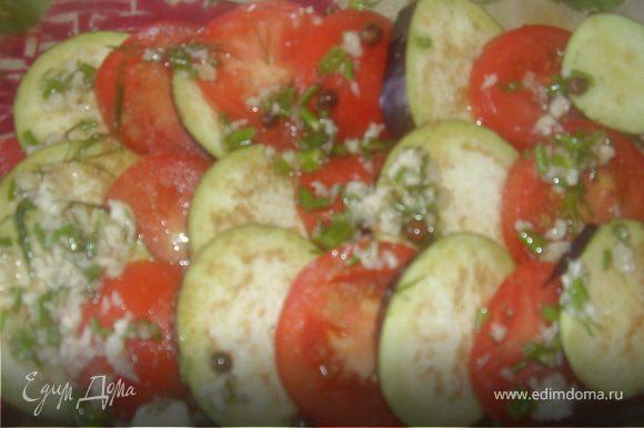Выкладываем попеременно в жароупорную емкость баклажан и помидор.Сверху поливаем соусом(половиной)