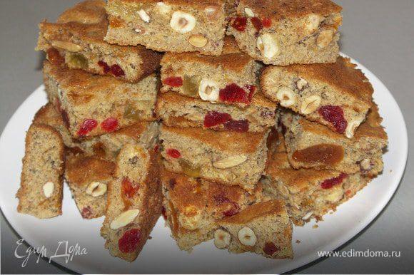 Слегка остудить бисквит.Порезать на квадраты и можно кушать:)Приятного аппетита!Пирог получился воздушный,ароматный и вкусный:))