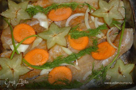 Берем филе любой морской рыбы.Противень смазываем растительным маслом.На него выкладываем рыбу,предварительно посыпав ее специями.Сверху рыбки выкладываем лук,морковь,зелень и карамболу.Когда все овощи выложили на рыбу,поливаем небольшим количеством соевого соуса и выкладываем немного сливочного масла.Закрываем противень фольгой и отправляем в разогретую духовку.Запекаем при температуре 200-220 гр. минут 20-25.Вот рыбка и готова!Приятного аппетита!!!!!