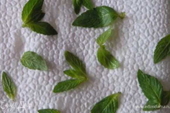 Дать настояться. А тем временем подготовить листики мяты - вымыть, высушить и отобрать только верхние листочки :)
