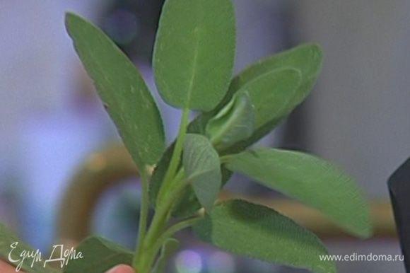 Добавить в сковороду 1 ст. ложку сливочного масла и тушить листья шалфея 1–2 минуты.
