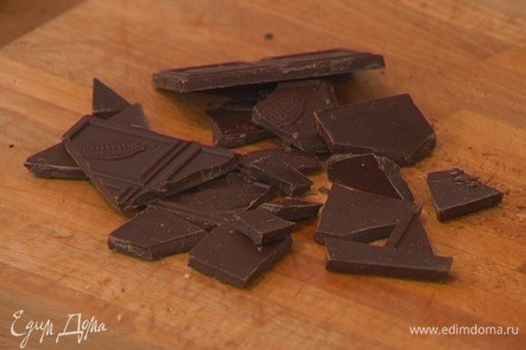 Шоколад поломать на небольшие кусочки.