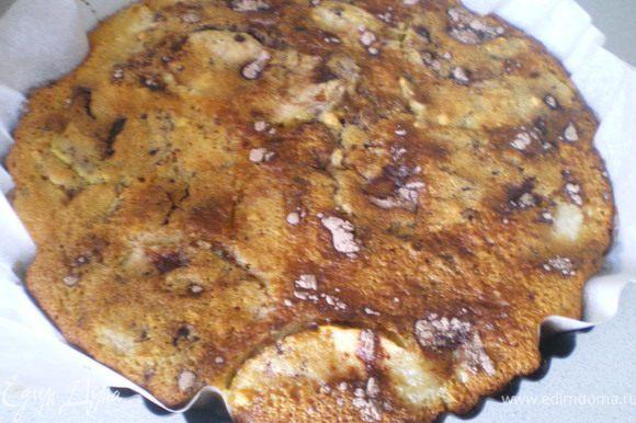 Приготовить тесто. Положить в чашку манку, стакан сахара,яйца, кефир и соду. Замесить тесто и оставить для набухания крупинок манки (около 30 минут). В сотейнике растопить сливочное масло и положить туда, нарезанные ломтиками, яблоки. Сверху посыпать оставшемся сахаром и карамелизовать 10 минут. Дно формы застелить бумагой и выложить яблоки, сверху залить загустевшим тестом. Сверху посыпать какао и сделать разводы. Поставить в духовку и выпекать 25 минут. Готовый пирог остудить и вынуть из формы, перевернув её.