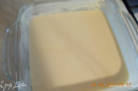 вылить тесто в, смазанную маслом, форму