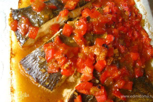 Как только увидели, что соус запузырился т.е. закипел, через 15-20 минут рыбка готова.