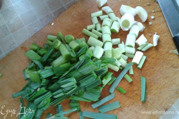 """Овощи помыть, почистить, порезать приемлемыми кусками. Мой муж любит большие куски. Так, когда все стушится, не превращается в """"кашу"""". Готовим все в чугунной сковородке или с толстым дном (на фото сковородка напоминает по форме Вок, но это не она,просто такой же формы чугунок). Режем лук порей, весь..."""