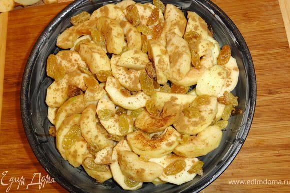 На смазанную маслом форму, выложить яблоки и изюм. Все посыпать корицей и тростниковым сахаром.