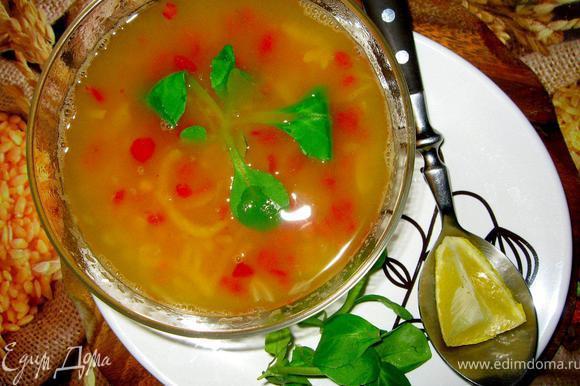 За 5 минут до готовности присолить по вкусу, затем снять с огня и дать немного настояться под крышкой. Суп очень вкусный, я не раз пробовал его, будучи в Турции. Подать можно с зеленью, йогуртом, турки еще любят положить в горячий суп небольшую дольку лимона, чечевица его очень любит.