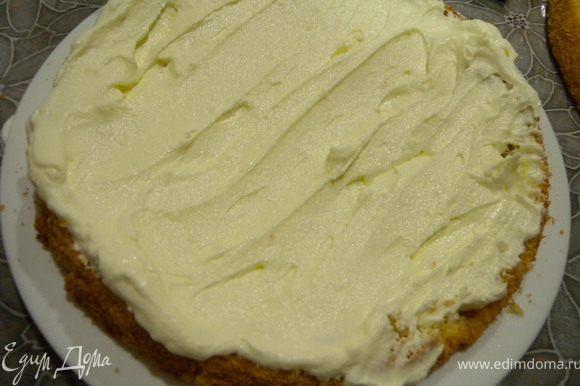 3. Взбить сметану с сахаром до состояния крема. Промазываем кремом коржи (бисквит делим нитью на 2 части до того, как пропитываем сиропом).