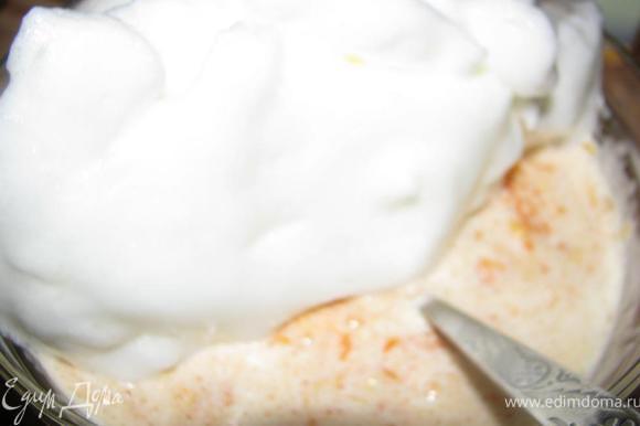 Взбить с солью белки. Аккуратно ввести в яично-пшенно-тыквенную массу))))
