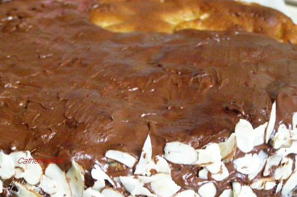 По бокам торт украсим половинками грецких орехов. У меня орехов не хватило на украшение, поэтому я украсила миндальными лепестками.