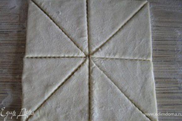 Разморозить слоеное тесто, присыпать мукой с двух сторон, нарезать на порционные треугольники.