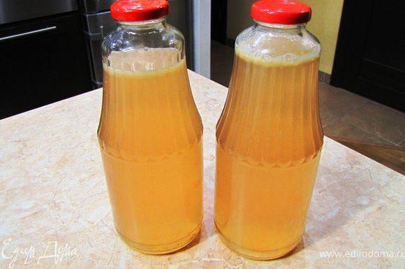 Добавьте остальную воду и разлейте по бутылкам. Поставьте охладиться в холодильник.