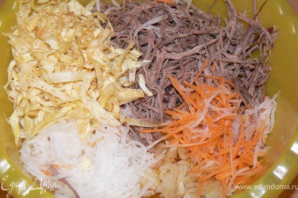Все компоненты салата смешать. Салат заправляем ложкой майонеза. Солим, перчим по вкусу,добавить чеснок через пресс. Можно посыпать зеленью