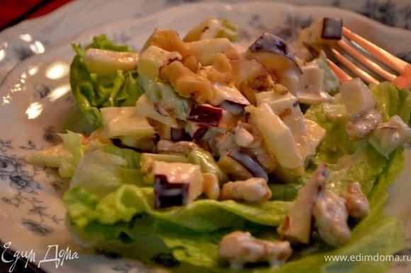 Смешать майонез,лимон.сок и молоко в миске. Выложить в салатницу яблоки и сельдерей,орехи. Полить смесью приготовленной. Подавать ,уложив на салатные листья салат из яблок. Хранить в холодильнике.