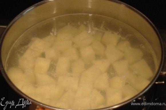 Картофель очистить, нарезать кубиками, залить водой и поставить вариться.