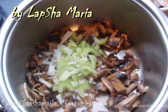 Кастрюльку, в которой будем готовить суп, разогреть на большом огне и положить в неё шампиньоны. Когда все влага из грибов выпарится, добавить 2-3 ст.л. растительного масла, лук и сельдерей. И дать обжариться минуты 3.
