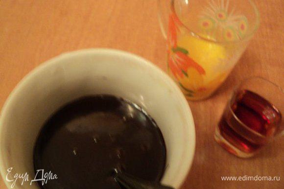 Затем ввести шоколад и размешать до полного растворения шоколада. Когда температура смеси снизится до 40 градусов, ввести желтки и коньяк. Охладить.