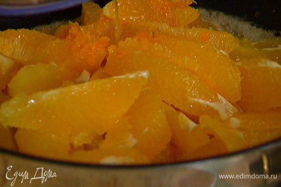 Разогреть в тяжелой, глубокой сковороде сливочное масло, добавить сахар и ванильный экстракт, выложить апельсины вместе с соком и цедрой.