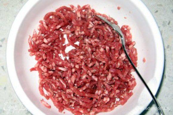 """Мясо порубить острым ножом или измельчить в блендере в режиме """"pulse"""". Не пропускать через мясорубку. Смешать три типа мяса в мисочке, посолить, поперчить, добавить щепотку паприки и кориандра."""