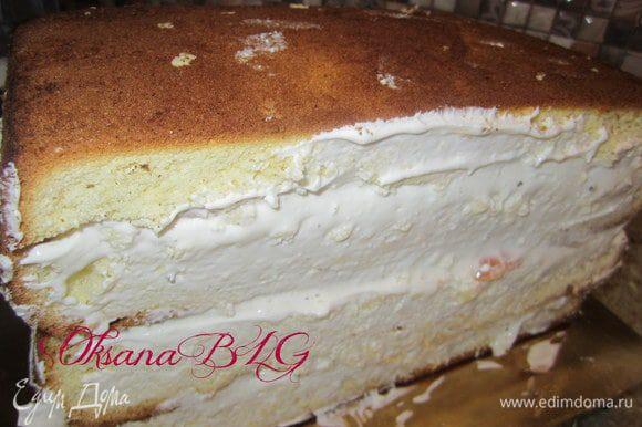 Готовый торт поставить для пропитки на 2-3 часа в холодильник.