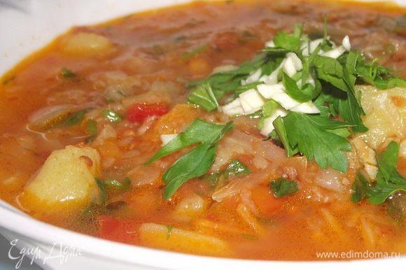 1) За кипятить бульон,вкинуть картошку и варить до готовности 2) В это же время на сковороду с маслом всыпать капусту с половиной моркови и тушить под крышкой до готовности( если нужно ,то подливать немного кипяченной воды) 3) На сковороде жарить лук,когда он станет прозрачным,то добавить морковь,сельдерей,корень петрушки,пастернак,перцы.Тушим до готовности,в конце добавить томатный соус( у меня где то 150 гр соуса ушло) 4) С бульона выбрать немного картофеля,помять его и вкинуть обратно в бульон. 5) В бульон с картофелем высыпаем капусту и овощи 6)Все смешать,посолить,поперчить.Пусть потомится все минут еще 15.Затем добавить зелень и чеснок и выключить плиту. 7) Хорошо такие щи готовить на ночь.Когда щи настоятся,они становятся еще вкуснее Смачного.