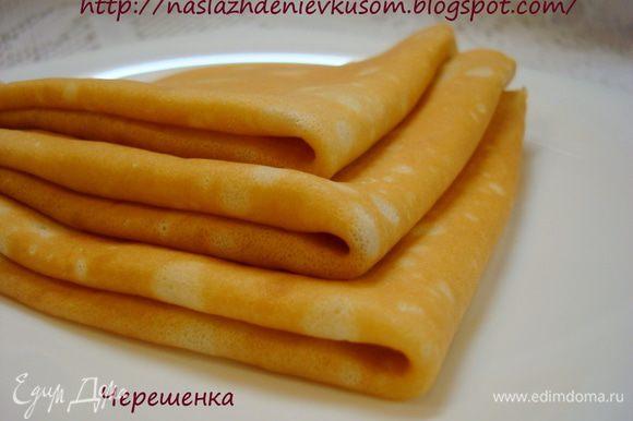 Блинчики готовим по рецепту «Блинчики простые, всегда удачные!» http://www.edimdoma.ru/recipes/37192 Вот такие они у нас получаются…