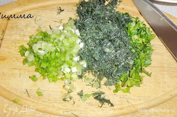 Зелень укропа и петрушки измельчите, лук мелко порежьте.