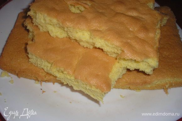 Выливаем тесто в форму для выпечки. Выпекаем в разогретой духовке при темп.180 гр 20-25 минут. Охлаждаем. Не страшно если бисквит немного упадет в процесе выпечки, всеравно мы будем делать из него крошку.