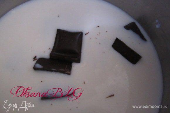 Пока готовится бисквит. приготовить заливку. Молоко подогреть, добавить шоколад, снять с огня когда растопится шоколад.