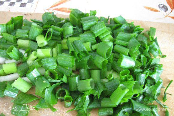 Крошим зеленый лук