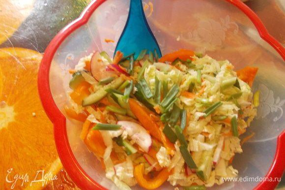 рисовую лапшу отварить в подсоленной воде с ложкой оливкового масла,остудить.морковь натереть,огурец,перчик,пекинку и редиску нарезать произвольно,зеленый лук нашинковать.