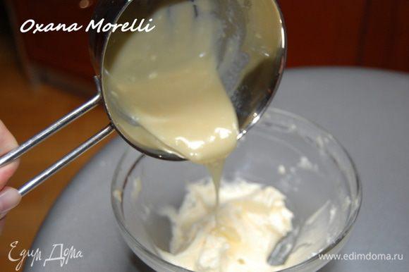 Сливочное масло взбить с сахарной пудрой до светлой пышной массы. Добавить апельсиновый ликер и постепенно влить растопленный белый шоколад. Готовый крем охладить(я поставила в морозилку на 15 минут).