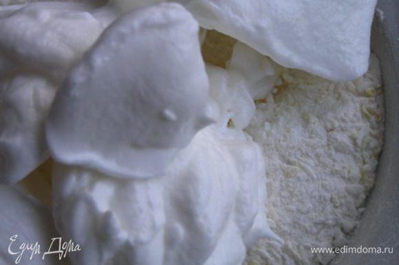 Взбить белки до мягких форм пик. Постепенно добавляя сахар, взбить до жестких пиков. В несколько приемов примешать белки в сухие ингредиенты.