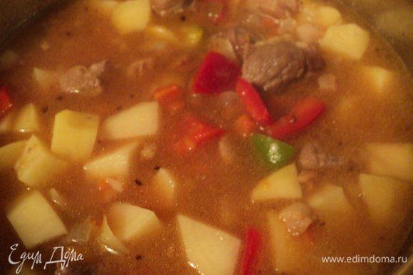 Очищенный картофель нарезать средним кубиком, соединить с мясом, добавить болгарский перец, порезанный кусочками, пассированный лук и томатный соус или помидоры, порезанные кусочками. Тушить до готовности.