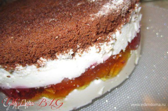 Поставить торт в холодильник на 2-3 часа. После охлаждения достать из формы.