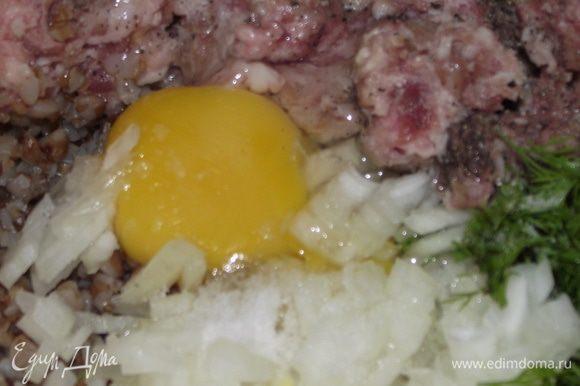 3)Добавляем 1сырое яйцо,лук порезанный кубиками,укроп,соль ,перец