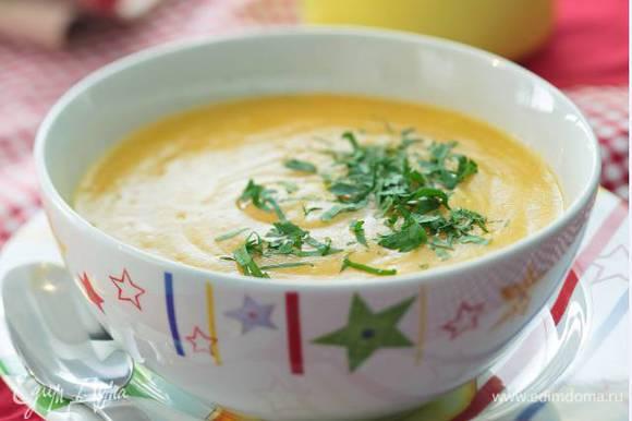 Петрушку порубить и присыпать суп.