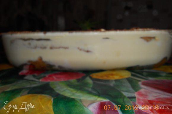 разровнять крем и посыпать просееным через сито какао,поставить на пару часов в холодильник