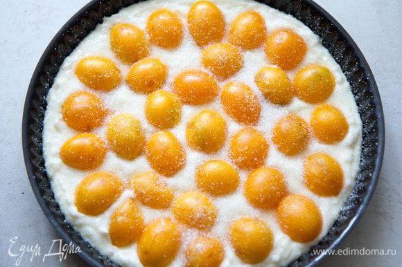 Выливаем тесто в смазанную маслом форму и раскладываем сверху алычу. Посыпаем сахаром.