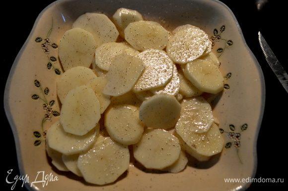 Картофель выложим в блюдо и смажем олив.маслом, посолим, поперчим.