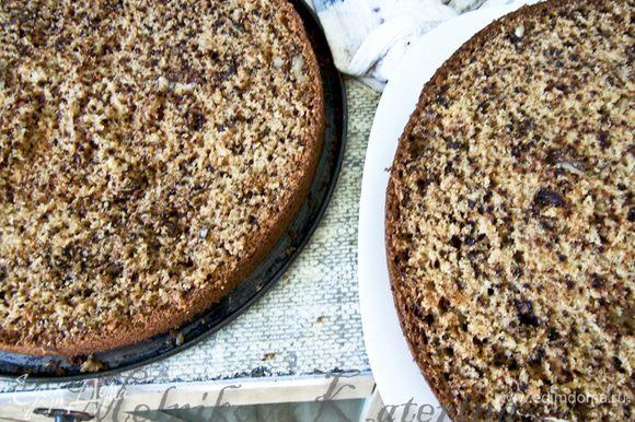 Разрезать пирог на две части, выложить половину крема, смазать. Накрыть вторым коржом и смазать его сверху.