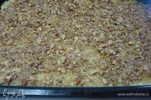 Тесто раскать в прямоугольник, выложить на смазанный маслом противень. Наколоть тесто вилкой. Выложить ореховую смесь.